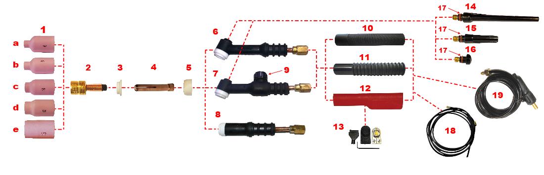 TIG Welding Torch WP17 18 26 Back Cup 57Y01 57Y02 57Y03 57Y04 Gas Lens Insulator