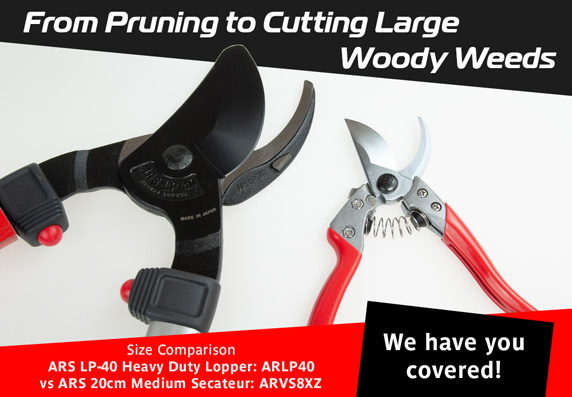 From Pruning to Cutting Large Woody Weeds - we have you covered. ARS, BAHCO, WOLF Garten, Fiskars