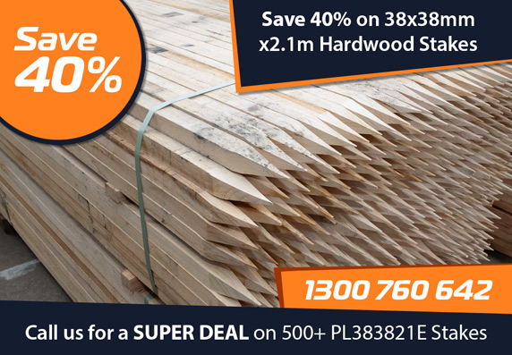 Save 40% on 38x38mm x 2.1m Hardwood Stakes - Call us for a Super Deal on 500 or more