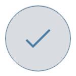 Blue tick on grey background