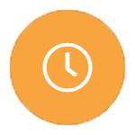 white outline of a clock on orange