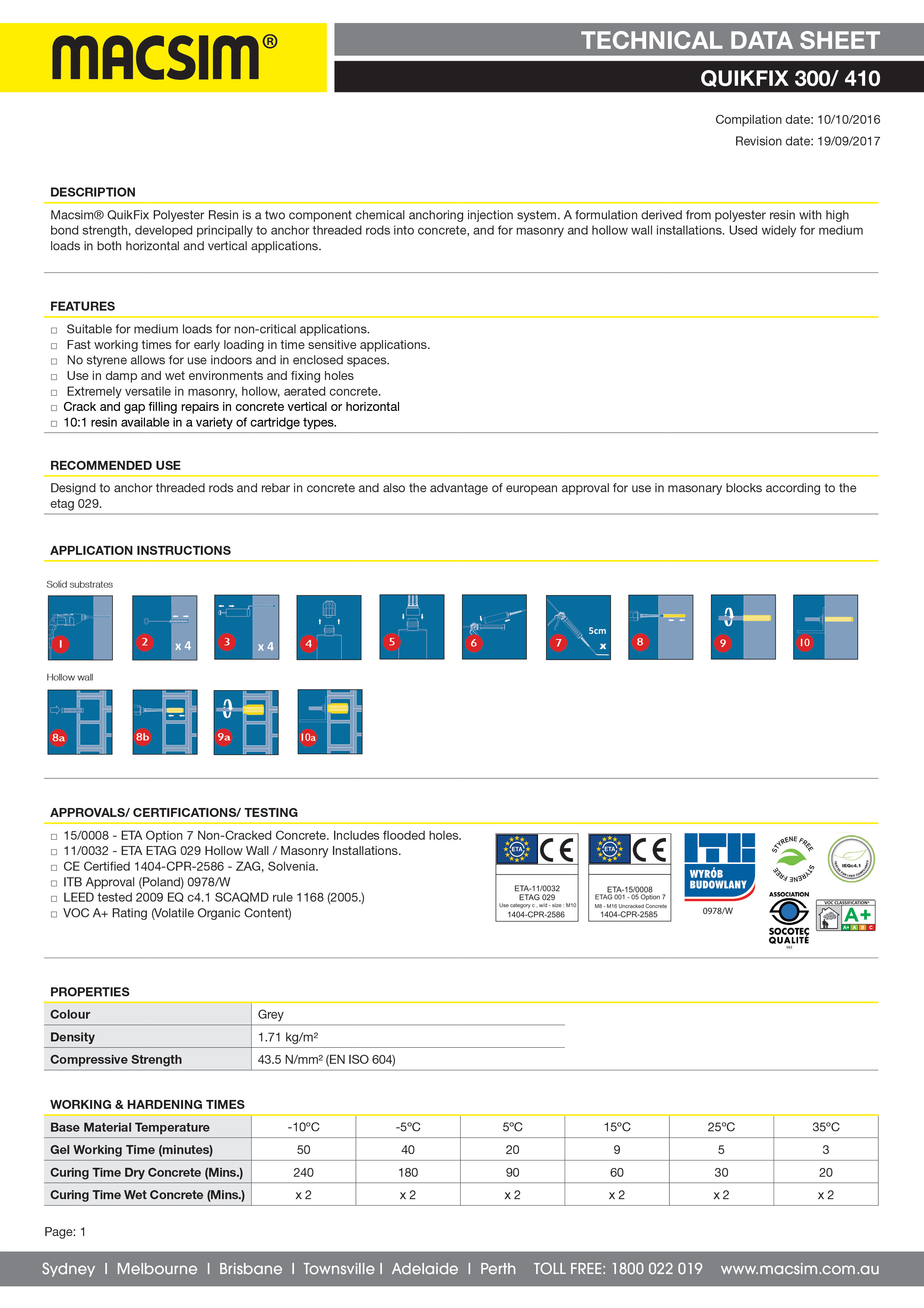 71PC Quikfix Technical Data Sheet