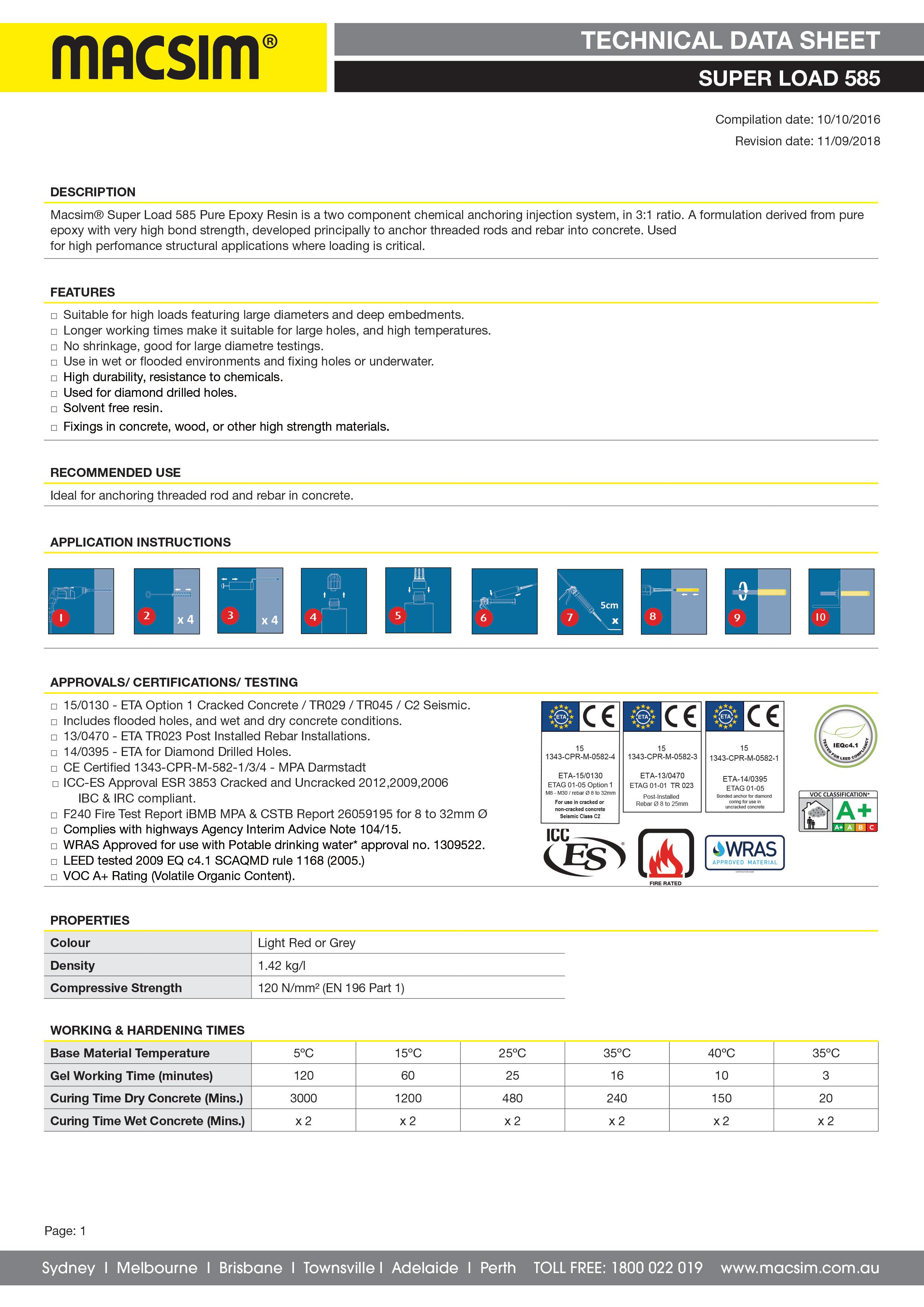 71SL Superload Technical Data Sheet