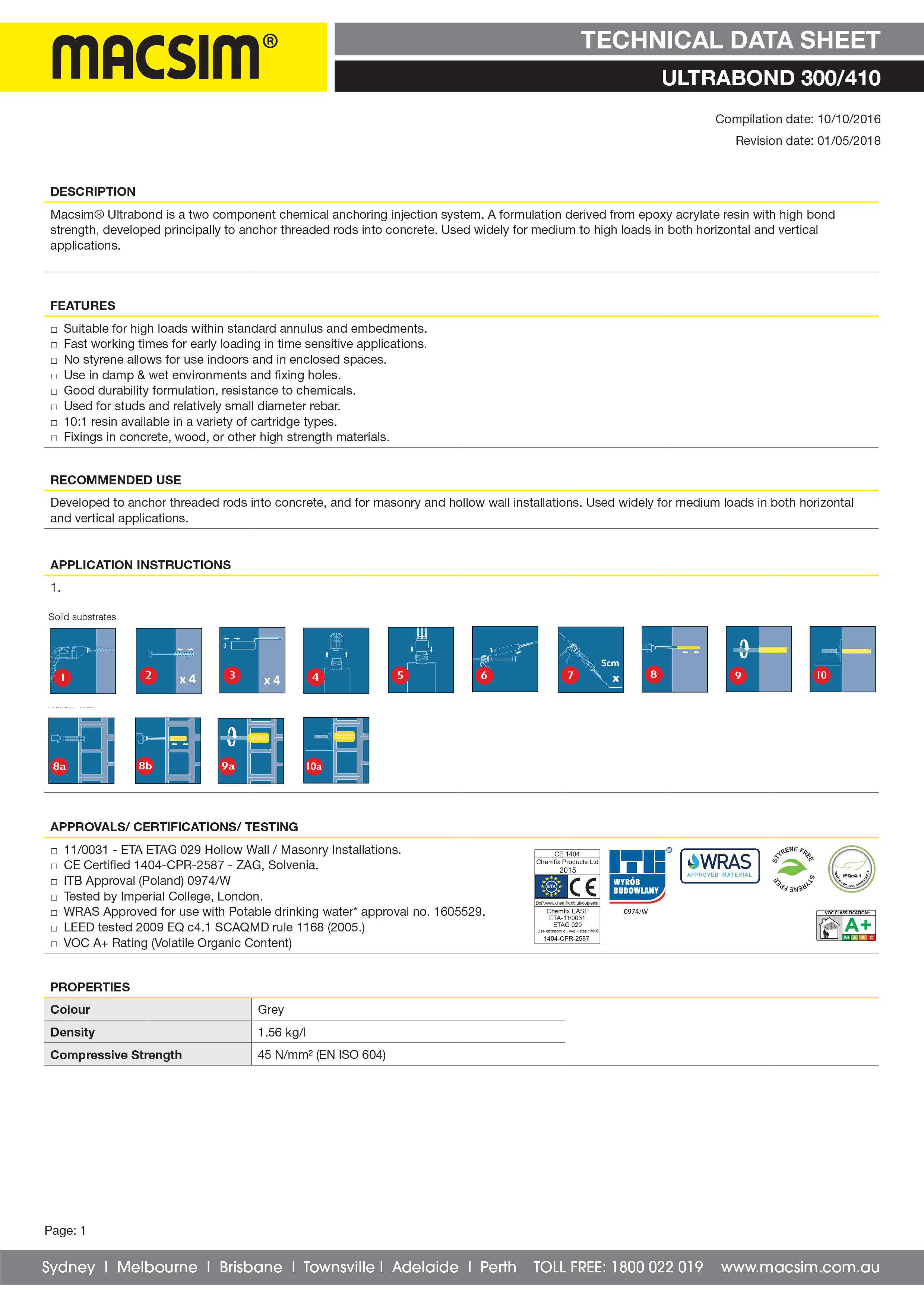 71UB Ultrabond Technical Data Sheet