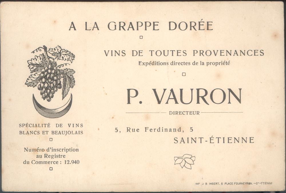 Vintage P. Vauron business card