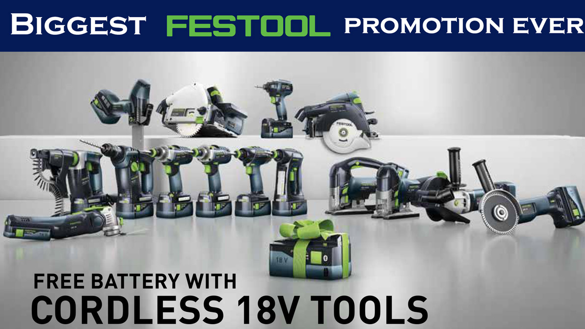 Free Festool Battery With 18 Volt Tools