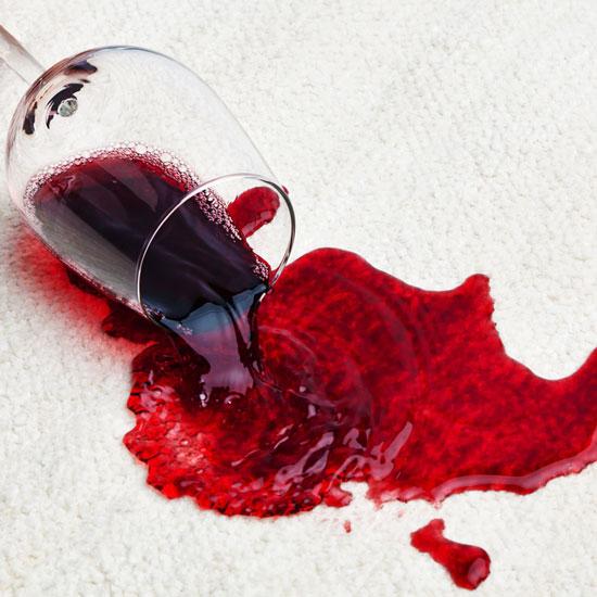 Wine spill on carpet