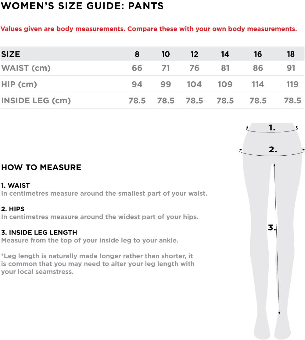 Women's Size Guide - PANTS W19