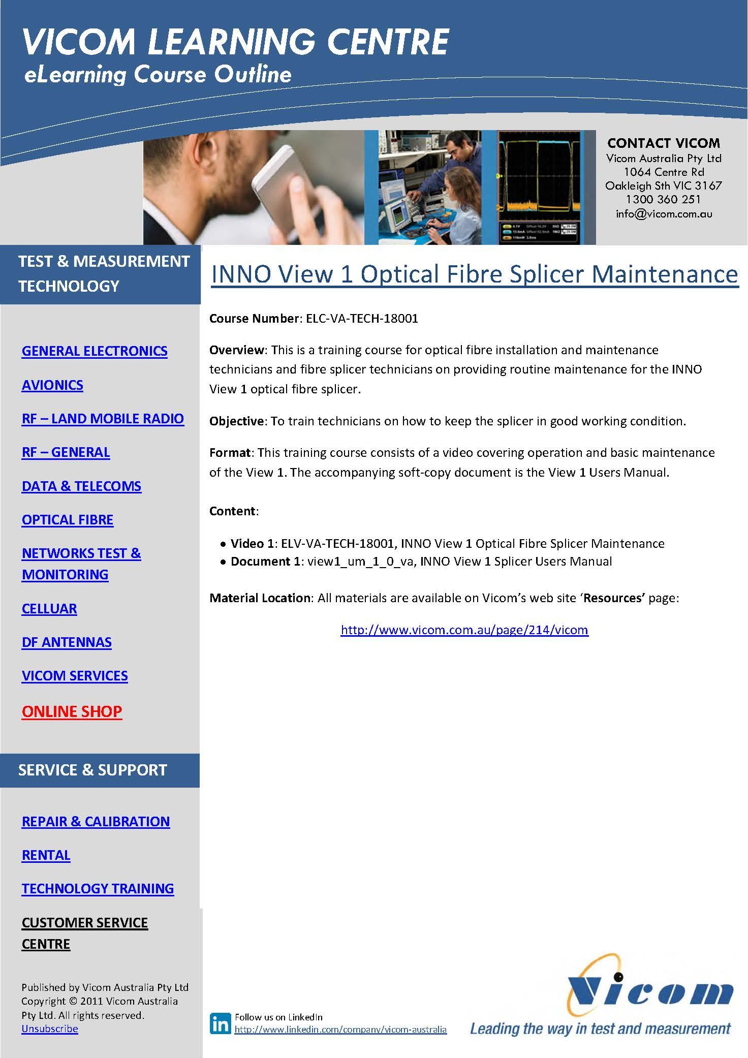 eLearning Course, Vicom Australia, ELC-VA-18001