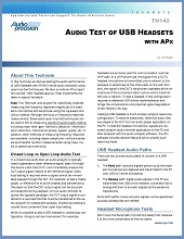 Technical Note TN142 - Audio Test of USB Headsets with APx