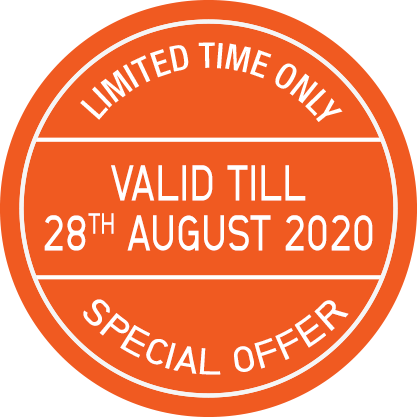 Limited Time Only Special Offer - Valid Until 26th August 2020