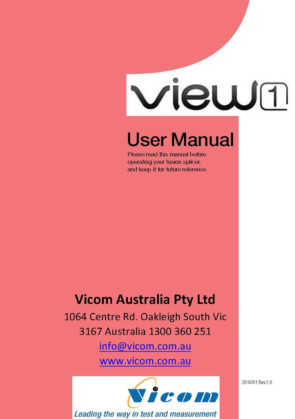 INNO View 1 Splicer User Manual