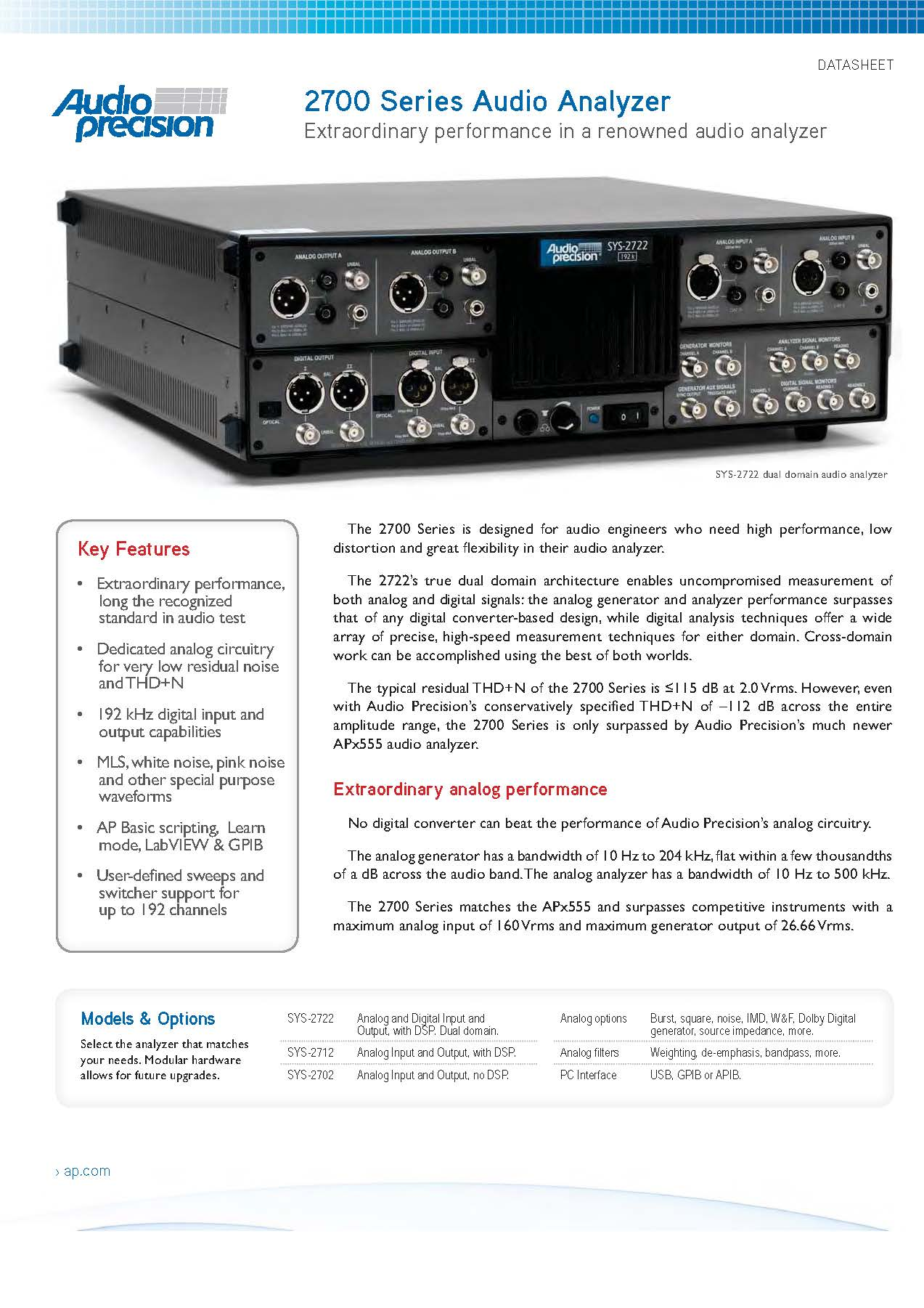 2700 Series Audio Analyser datasheet thumb