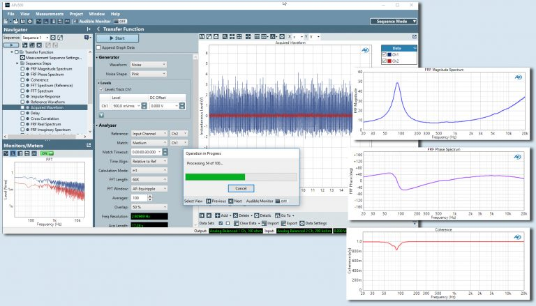 Audio Precision Transfer Function - Dynamic Signal Analyser
