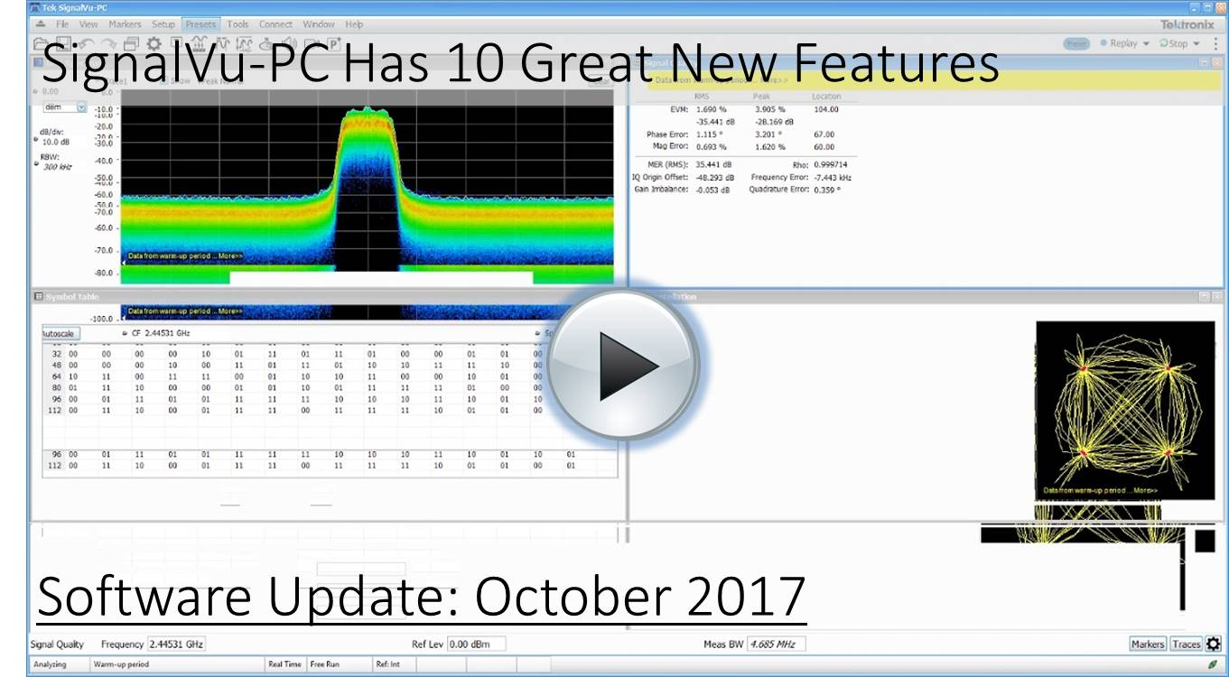 SignalVu-PC October 2017 Improvements