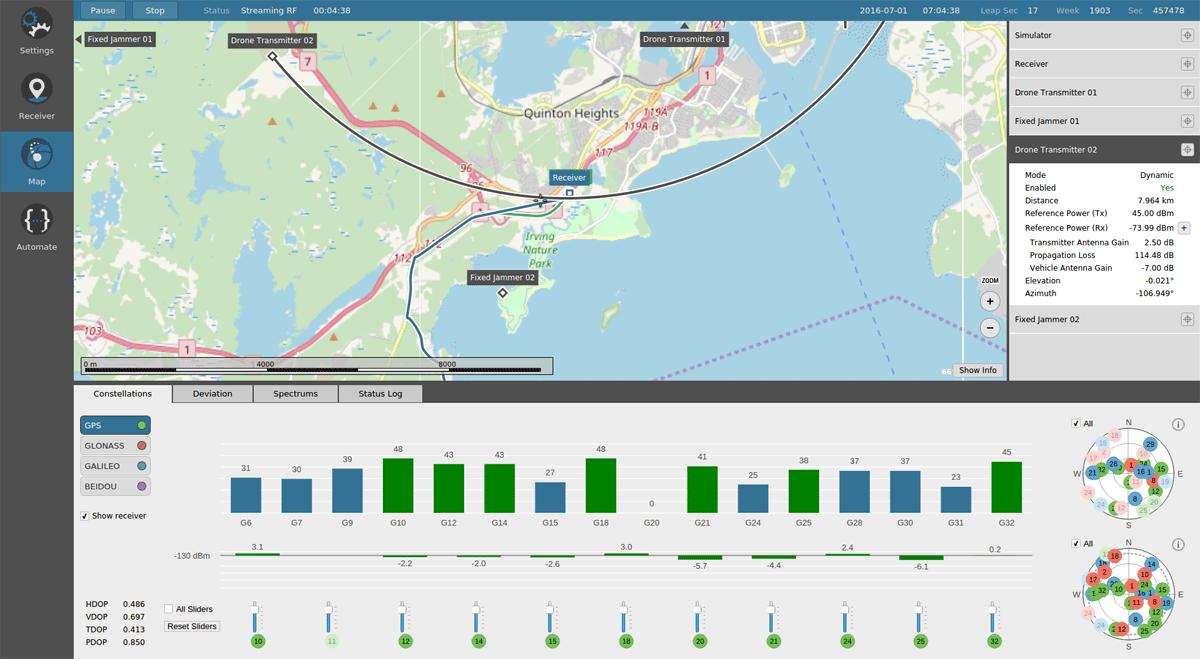 Orolia Skydel GNSS Simulator - Scenario Editor