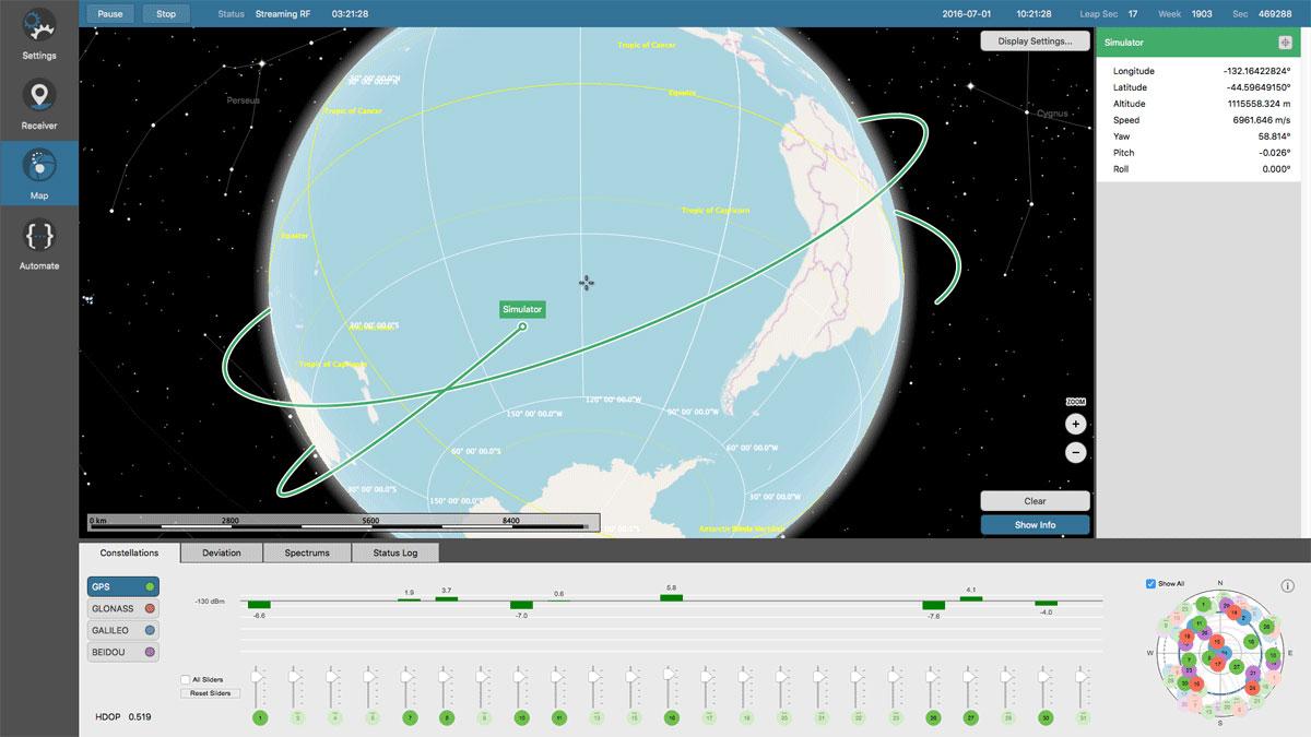 Orolia Skydel GNSS Simulator - Trajectories Simulation